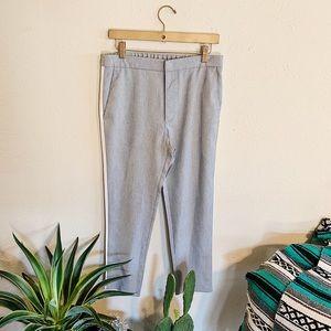 Zara Man Gray and White Pin Stripe Stretchy Pants